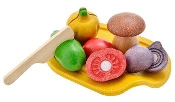 Set med grönsaker - Plantoys - Bricka med blandade grönsaker - Plantoys