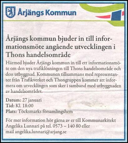 Annons i Nordmarksbygden 21 januari 2015.