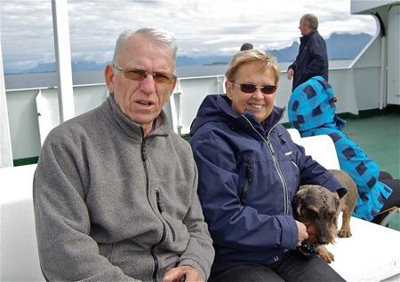 Sverre och Gerd på färjan från Moskenes till Bodö