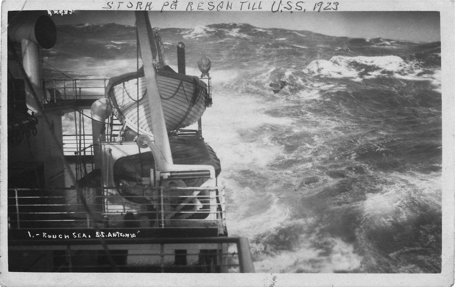 Stormig sjöresa till Amerika 1923 med SS Antonia