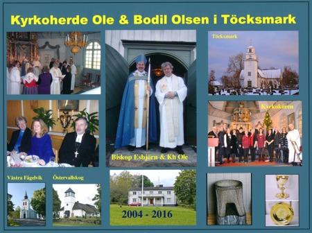 Runar Patriksson överlämnade en tavla där han sammanställt bilder från Oles och Bodils tid i Töcksmarks församling.