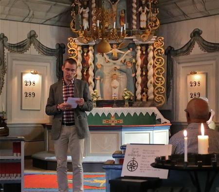 5 juli 2016 - Kyrkvandringen avslutades med att Nils Anshelm höll en kort andakt.