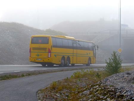 Bussen återvänder till Töcksfors Busscentral, för senare avfärd mot Årjäng och Karlstad.
