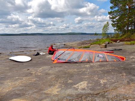 Sjön Foxen fungerar bra för vindsurfing.