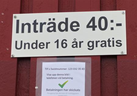 Inträde vid Hagavallen i samband med matcher.