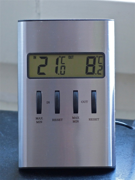 Utetemperatur + 8,2 grader, perfekt för en morgonpromenad.