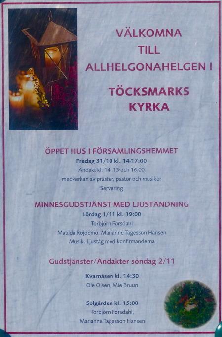 Kyrkans program för Alla Helgons Dag, med ljuständning.
