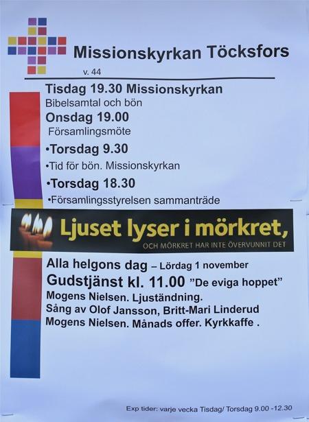 Även Missionskyrkan har program med ljuständning på Alla Helgons Dag.