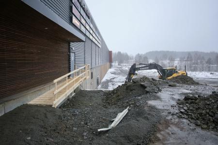 24 januari 2018 - Grävning för nya infarten till shoppingcentrets P-Hus.