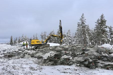 8 januari 2018 - Sprängningsarbetet på toppen av Joarknatten är snart färdigt.
