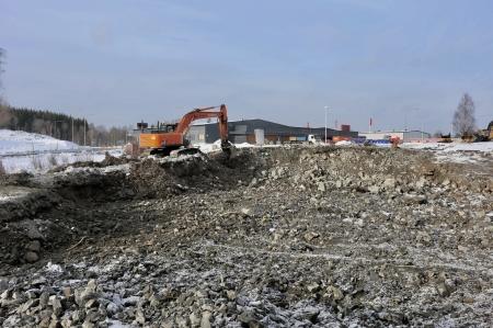 9 februari 2018 - Här grävs det för P-husets nya in- och utfart.