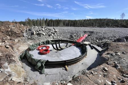 7 maj 2018 - Förberedelse för armering och gjutning av fundamentet för vindkraftverk 8.