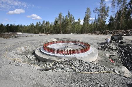 21 augusti 2018 - Fundament 9 är klart för montering av spännstag.
