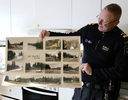 Roger Nilsson visade gamla bilder från första försöket att få till en ny tullstation.