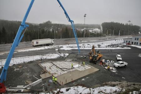 13 november 2019 - Dags att gjuta bottenplattan till KGH:s Speditionsbyggnad.