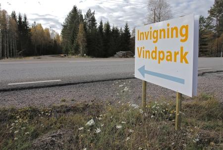 Infart från E18 till Vindkraftspark Årjäng NV.