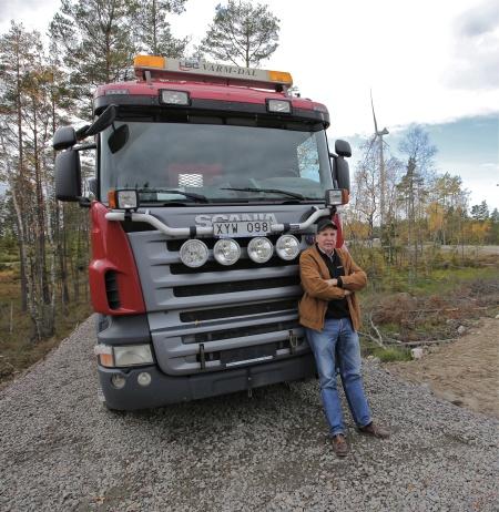 Bo Arvidsson från Töxfrakt AB, en av flera lokala entreprenörer som medverkat vid byggnationen av vindkraftsparkerna.