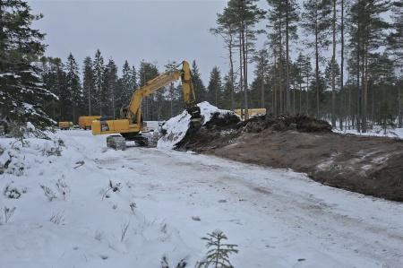 22 januari 2014 - arbetet med återställande av skogsmarken längs med vägarna fortsätter.