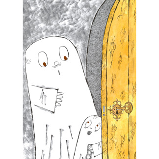 Vykort Spöket Laban, dörr