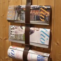 Tidskriftshållare med plats för tre tidningar