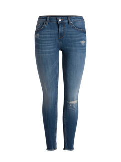 DELLY CROPPED JEANS - Mörkblå Xl