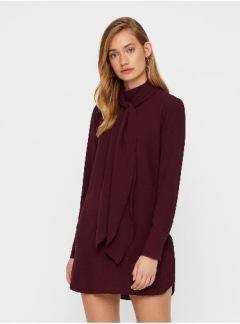 Eclipse high neck tie dress - Vinröd S