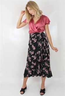 LILJA SKIRT BLACK/ROSE/SALVIA - S