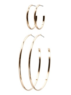 HANNA CREOL 2-PACK EARRING - Guld