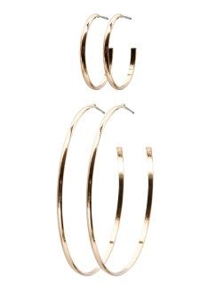 HANNA CREOL 2-PACK EARRING - Guld