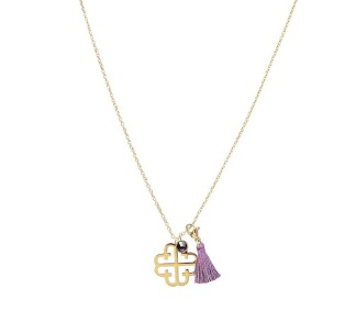 LOLA TASSEL NECKLACE - GOLD AMETHYST