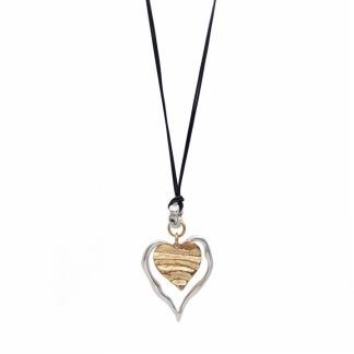 Långt halsband med hjärta -