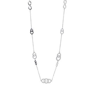 Långt halsband med ringar - Silver