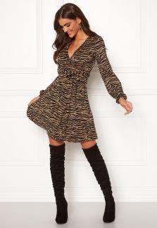 Sonnet Mini Wrap Dress - Brun/svart XS