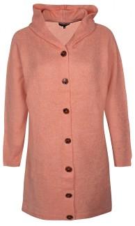 Lång cardigan med knappar och luva - Rosa XS