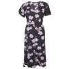 Lång klänning med blommor - Lila XXL