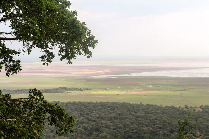 Vy från lodgen ut över Lake Manyyara