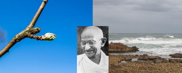 Respekt för livet, naturen, havet och personer som betytt något extra.  Bilden på Gandhi är från Wikipedia.