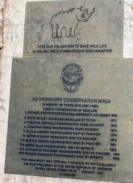 Minnesten över stupade som kämpat för bevarande av djurlivet i Ngorongoro