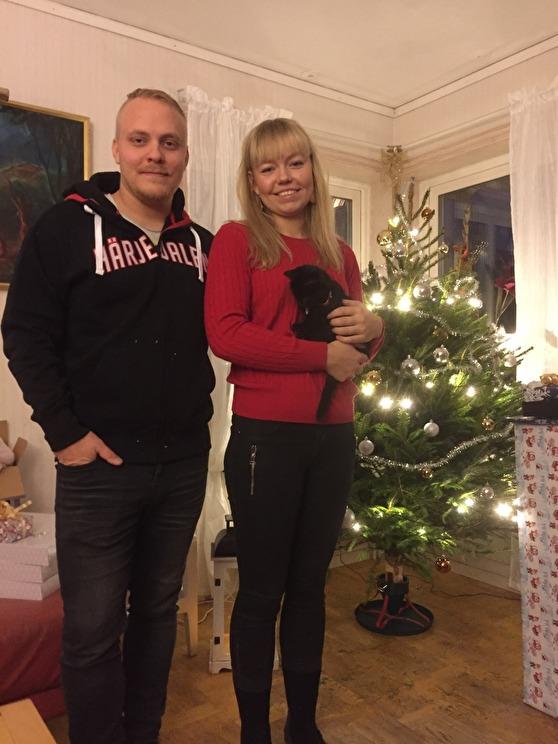 Brorsan, jag och Smirre på julafton hemma hos föräldrarna i Bjärka