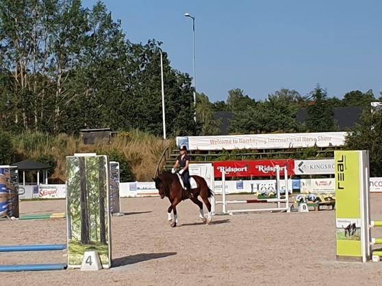 Flo fick själv lite miljöträning bland de fina hindren på Åby