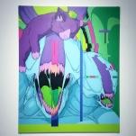 """Mew"" 60cm x 47cm, Acrylics on MDF"