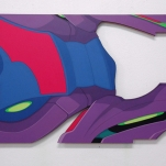 """Speedrun/2"" 127x65cm, Acrylics on form sawed MDF."