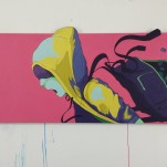 """""""VENTURE [CEL]"""" 146x64 cm, acrylic painting on form sawed MDF"""