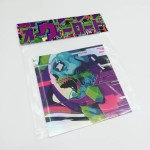 Holographic DISCHARGE-sticker. 10x10cm, 5 euro/50 kr /each