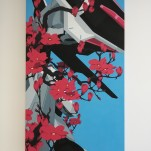 """Loneliness and Mobile Suit /A"", Acrylics on MDF, 113x185cm"