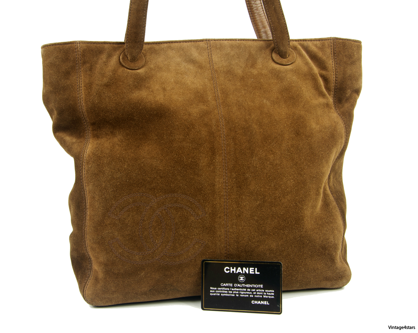 CHANEL Tote Suede Brown 06