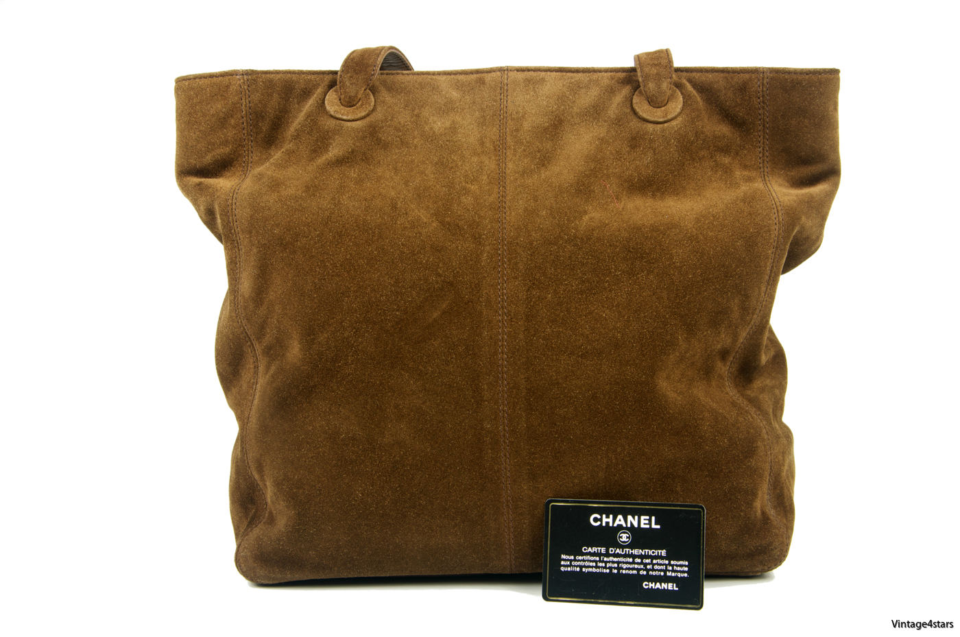 CHANEL Tote Suede Brown 08