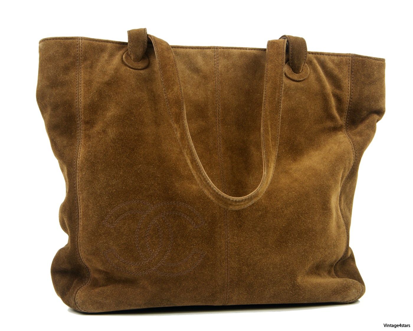 CHANEL Tote Suede Brown