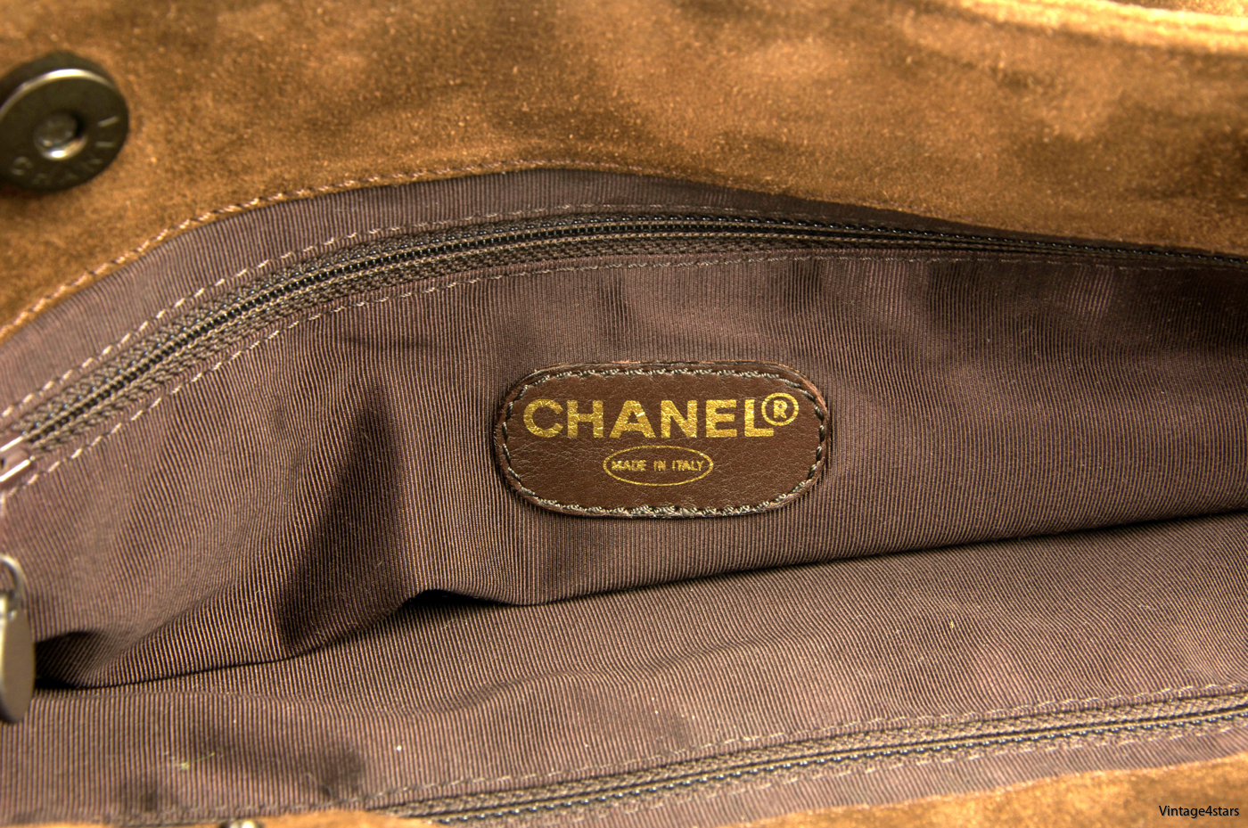 CHANEL Tote Suede Brown 13
