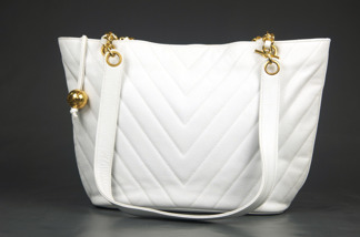 CHANEL Caviar White Tote Chevron - CHANEL Caviar White Tote Chevron